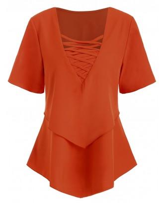 Criss Cross Ruffle Short Sleeve Blouse - Pumpkin Orange M