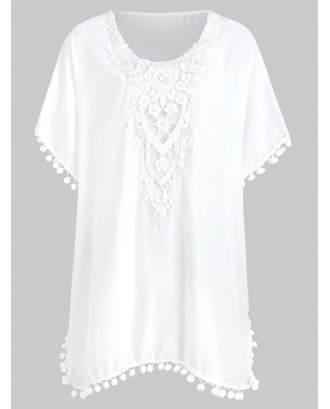 Applique Panel Pompom Slit Tunic Blouse - White L