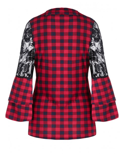 Bell Sleeve Lace Panel Plaid Blouse -  M